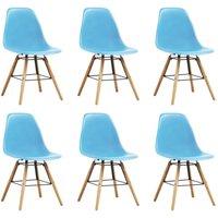Dining Chairs 6 pcs Blue Plastic