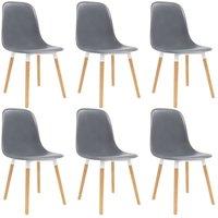 Dining Chairs 6 pcs Grey Plastic