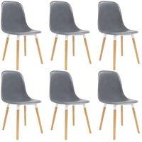 Dining Chairs 6 pcs Grey Plastic - Grey