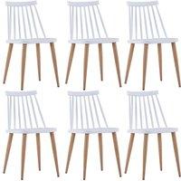 Zqyrlar - Dining Chairs 6 pcs White Plastic - White