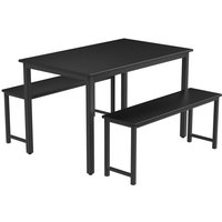Dining Room, 3 Pieces Farmhouse Kitchen Table Set with Two Benches, Metal Frame and MDF Board, Modern Furniture for Home, Cafeteria, Apartment and