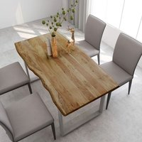 Zqyrlar - Dining Table 160x80x76 cm Solid Acacia Wood - Brown