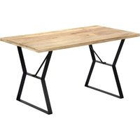 vidaXL Dining Table 140x80x76 cm Solid Mango Wood - Brown