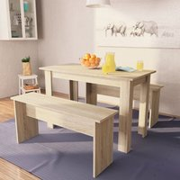 Betterlifegb - Dining Table and Benches 3 Pieces Chipboard Oak10639-Serial number