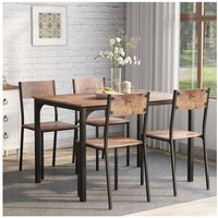 Zqyrlar - Dining Table and Chair Set 4 Wooden Steel Frame Industrial Style Retro Kitchen Dining Table Set (Rustic Brown)
