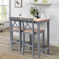 Dining table and chair Set kitchen table and 2 chairs- Grey
