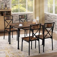 Youthup - Dining Table and Chairs Set of 4 Industrial style Retro Kitchen Dining Table Set ( Rustic Brown )
