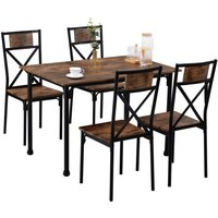 Dining Table and Chairs Set of 4 Industrial style Retro Kitchen Dining Table Set ( Rustic Brown )