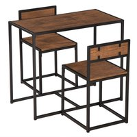 Dining Table and Chairs Set of 3, Industrial Wood Table with 2 Chairs for Living Room Kitchen Home Furniture (Light Walnut)