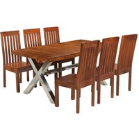 Dining Table Set 7 Piece Solid Acacia Wood with Sheesham Finish - VIDAXL