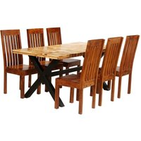 Dining Table Set 7 Pieces Solid Acacia and Mango Wood - VIDAXL