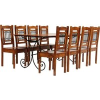 Youthup - Dining Table Set 9 Piece Solid Acacia Wood with Sheesham Finish