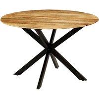 Zqyrlar - Dining Table Solid Rough Mango Wood and Steel 120x77 cm - Brown