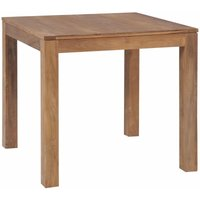 Dining Table Solid Teak Wood with Natural Finish 82x80x76 cm - Brown - ZQYRLAR