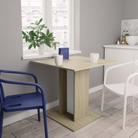 Zqyrlar - Dining Table White and Sonoma Oak 80x80x75 cm Chipboard - Multicolour