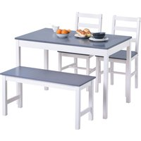 Zqyrlar - Dining Table,Chairs and bench Set of 4 Solid Pine Kitchen Table and Chairs Set