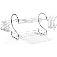Dish Drainer 2 Levels Cutlery Drainer Dryer Rack Stainless Steel Dish Rack - DAZHOM