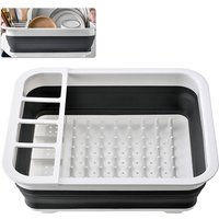 Dish Drainer Collapsible Dish Rack Drain Tray Colander with Drainboard for Bowl Dish Fork Spoon,model:Grey