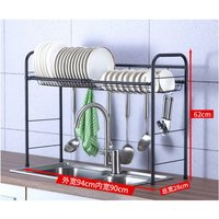 Dish Drainer Over Sink Stainless Steel Dish Drainer with Utensil Rack Hooks Space Saver for Kitchen Supplies Countertop Storage Shelf (Single Layer /