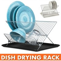 Dish Drainer - X Dish Drainer - Two Tier Dish Drainer and Drainer Set Stainless Steel Dish Drying Drainer with Drip Tray (White, Collapsible Type)