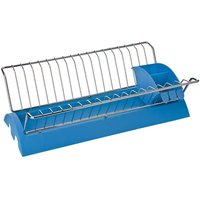 Dish drainer,blue plastic/chrome,removable cutlery caddy