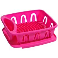 Dish Drainer,Hot Pink Plastic,Removable Tray