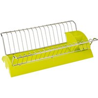 Dish drainer,lime green plastic/chrome,removable cutlery caddy