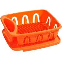 Dish Drainer,Orange Plastic,Removable Tray