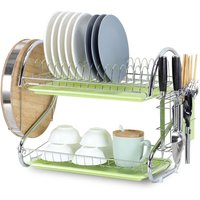 Dish Drying Rack 2 Tier Dish Rack Steel with Removable Drain Board Storage Rack for Dish Drainer Utensil Holder Cutting Board Holder for Kitchen