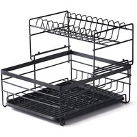 Dish Drying Rack 2 Tier Dish Rack Steel with Removable Drain Board Storage Rack for Dishes Drainer Utensil Holder for Kitchen Countertop Organizer