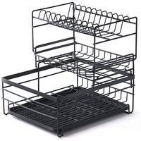 Dish Drying Rack 3 Tier Dish Rack Steel with Removable Drain Board Storage Rack for Dishes Drainer Utensil Holder for Kitchen Countertop Organizer