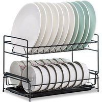Dish Drying Rack 2 Tier Dish Rack Steel with Removable Drain Board Storage Rack for Dish Drainer Utensil Holder for Kitchen Countertop Organizer