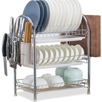 Dish Drying Rack 3 Tier Dish Rack Steel with Removable Drain Board Storage Rack for Dish Drainer Utensil Holder Cutting Board Holder for Kitchen