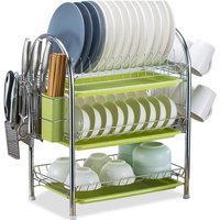 Dish Drying Rack 3 Tier Dish Rack Steel with Removable Drain Board Storage Rack for Dish Drainer Utensil Holder with Cup Rack for Kitchen Countertop