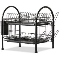 Dish Drying Rack 2 Tier Dish Rack Steel with Removable Drain Board Storage Rack for Dish Drainer Utensil Holder with Cup Rack for Kitchen Countertop