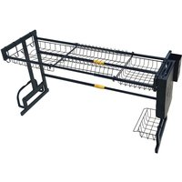 Dish Drying Rack 50*32*(65-93)cm Black Over Sink Drainer Shelf Kitchen Storage and Organization Holders