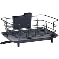 Dish Drying Rack for Kitchen Rustproof Dish Rack Drainboard Set Removable Adjustable Swivel Spout Red,model:Black