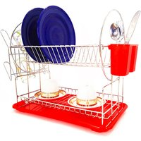 Dish Drying Rack for Kitchen Rustproof with Dish Rack Cup Holder Drainboard Set Large Capacity Removable Detachable 2 Tier,model:Red