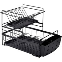 Dish Rack Bowl Cup Holder 2 Tier Drainer, Compact Cutlery Rack with Removable Drip Tray and Cutlery Cup, Black / White