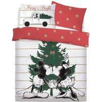 Mistletoe Kisses Mickey and Minnie Double Duvet Set (Double) (White/Red/Green) - Disney