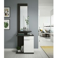Dmora Entrance furniture with mirror, door and drawer, ash grey and glossy white, cm 284 x 61 x 29