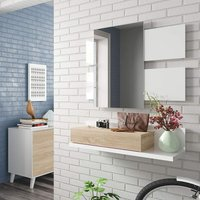 Dmora GEE hallway cabinet with one drawer and one mirror, walnut and glossy white, 95 x 19 x 26 cm.