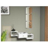Homemania - Dorado Hall Unit - with Mirror, Drawer, Shelves - White, made in Wood, 100 x 30 x 19 cm