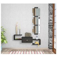 Homemania - Dorado Hall Unit - with Mirror, Drawer, Shelves - Glossy Black, made in Wood, 100 x 30 x 19 cm