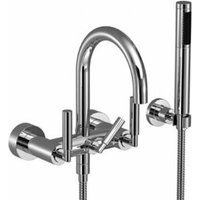 Dornbracht Tara bath mixer for wall mounting with hose shower set, 240 mm projection, 25133882, colour: brushed brass - 25133882-28
