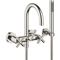 Dornbracht Tara bath mixer for wall mounting with hose shower set, 240 mm projection, 25133892, colour: platinum - 25133892-08