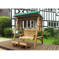 Dorset Two Seat Swing Green Canopy. Green Cushion Set Plus 1 Free Scatter Cusion.Fully Assembled. UK Mainland Only.10 Year Rot Free Guarantee.