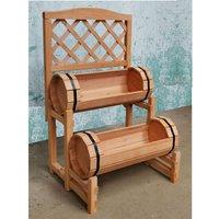 Double Barrel Wooden Garden Planter - Natural Wood