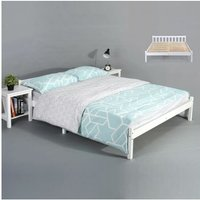 Double Bed Frame, Simple Style Natural Sturdy Pine Solid Wooden Bed Platform with Headboard and Footboard White?198x146x54cm? - White