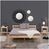Double Bed Frame, Durable Solid Wood Small Bed with Low Headboard and Footboard Space-saving Design Rustic Style Bedroom Furniture for Children Adult